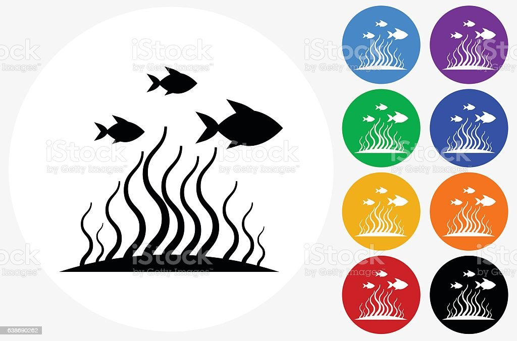 Marine Animals Icon on Flat Color Circle Buttons vector art illustration