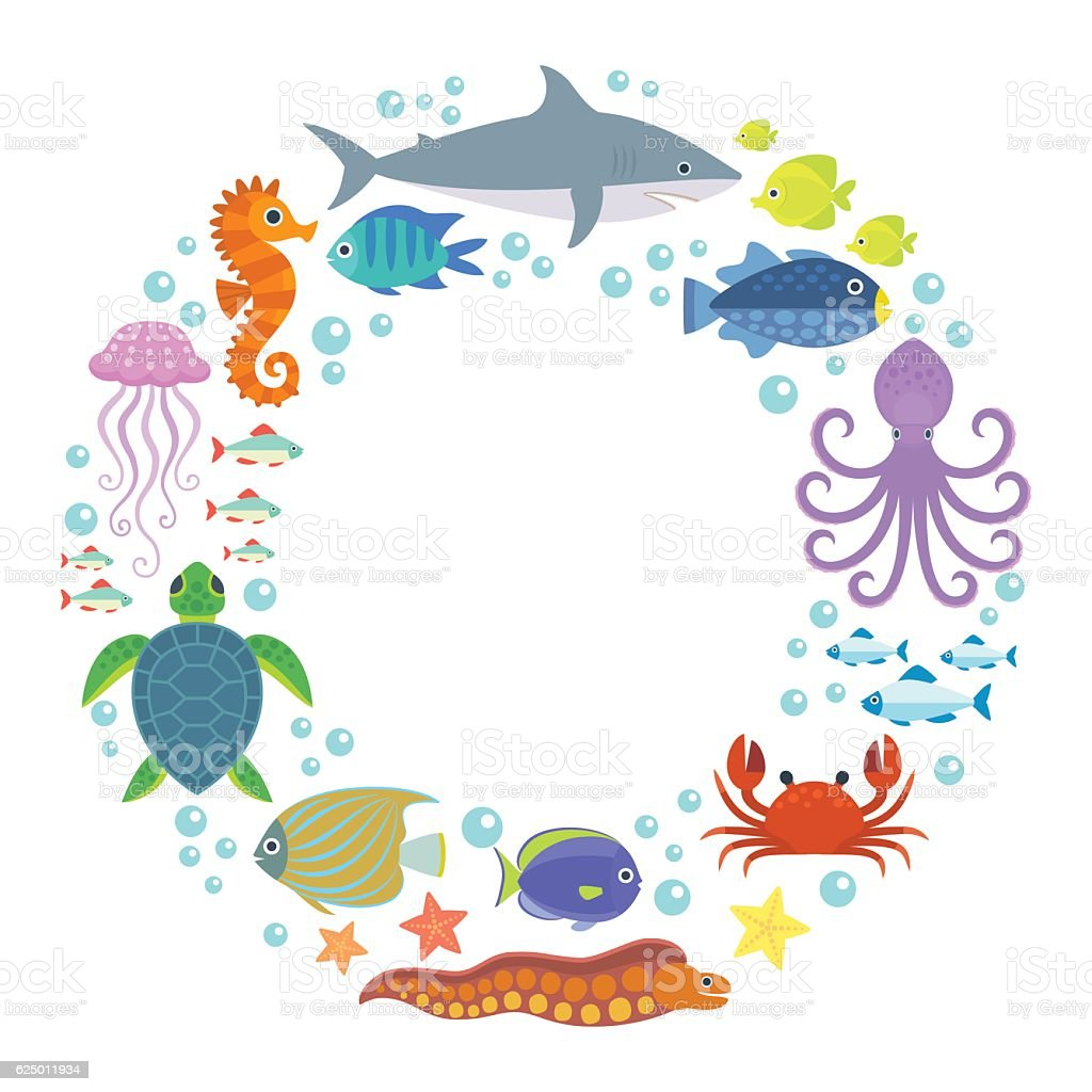 Marine background vector art illustration