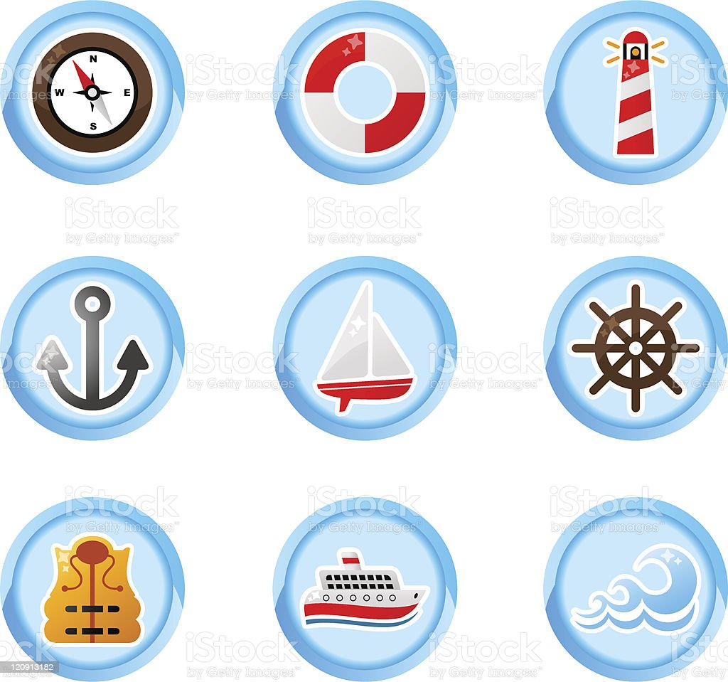 marine buttons royalty-free stock vector art