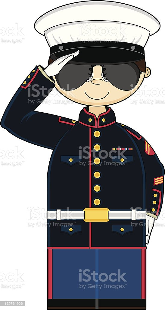 US Marine Corp NCO Saluting royalty-free stock vector art