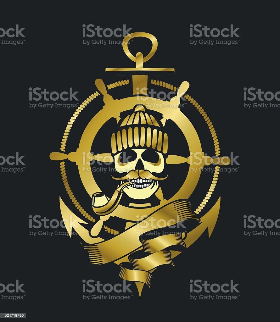 Marine emblem skull vector art illustration