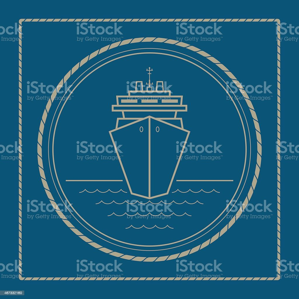 Marine emblem with cruise ship vector art illustration