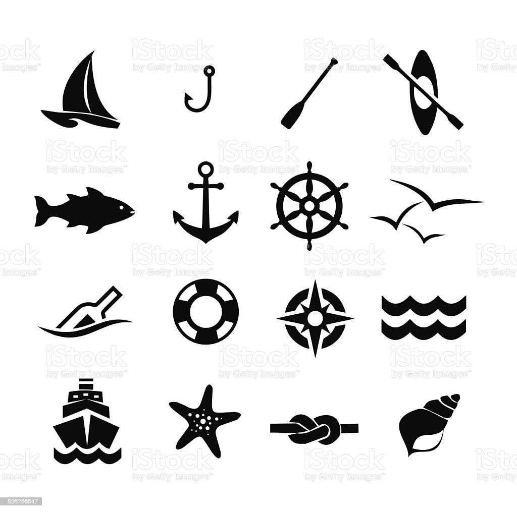 Marine icon set vector illustration vector art illustration