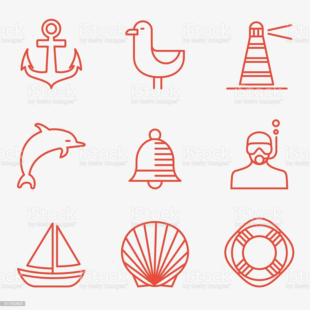 Marine icons vector art illustration