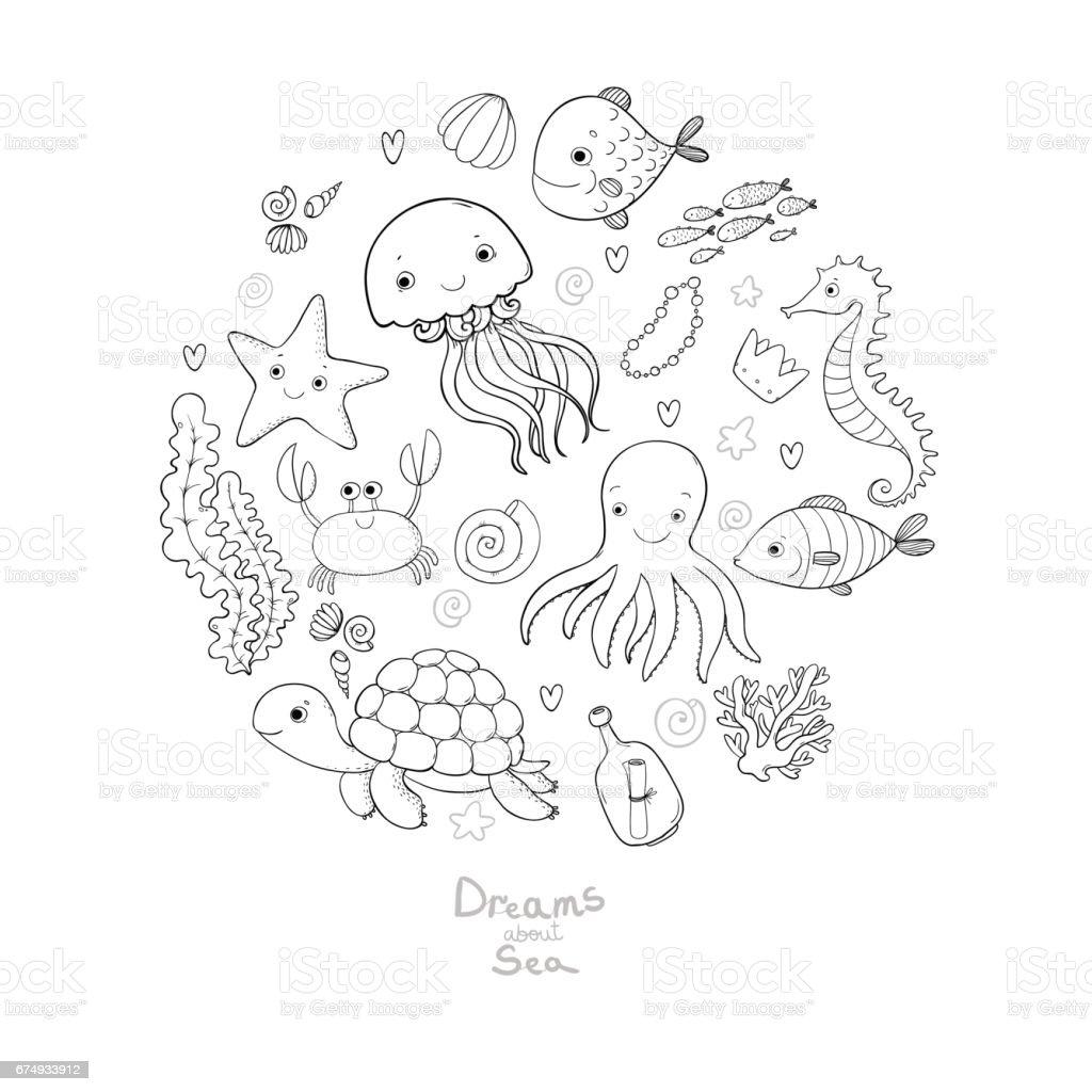 marine illustrations set little cute cartoon funny fish starfish