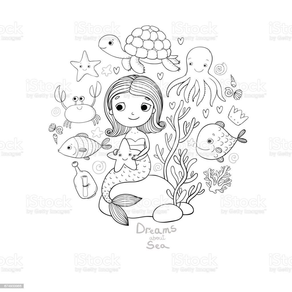 marine illustrations set little cute cartoon mermaid funny fish