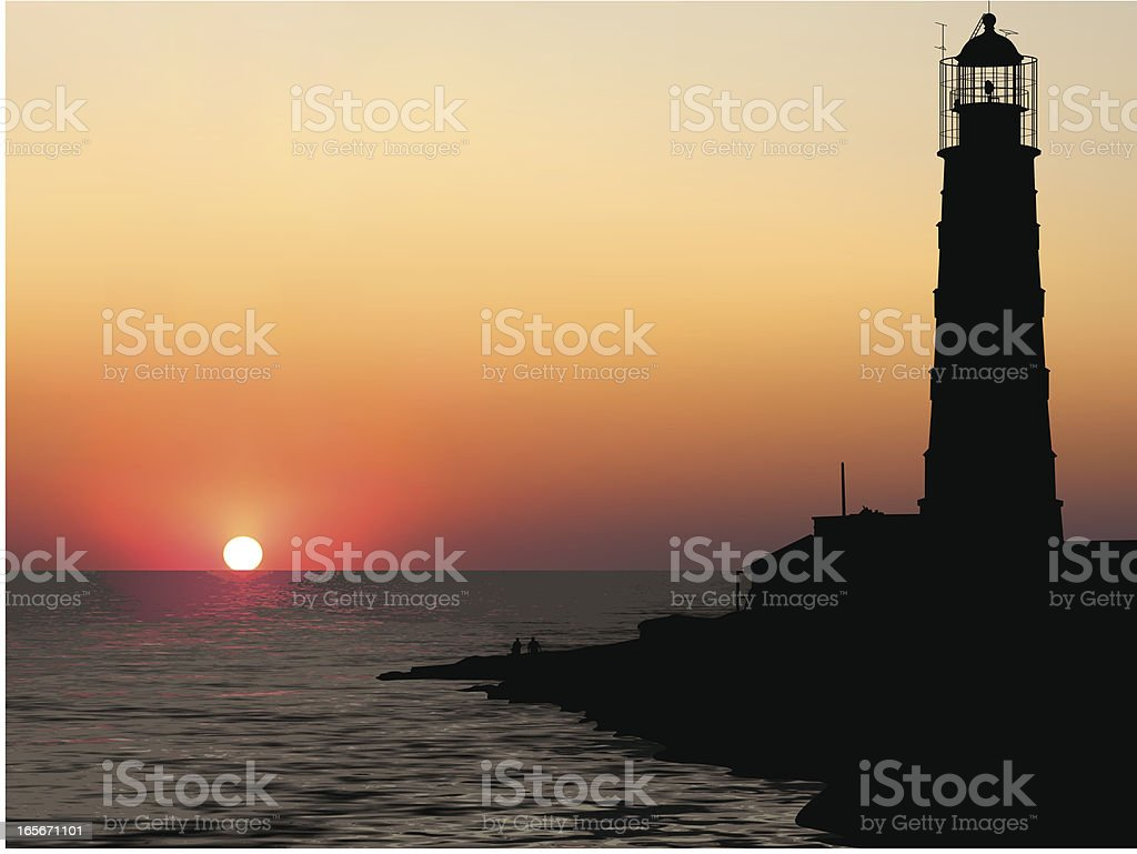 Marine landscape with a lighthouse royalty-free stock vector art