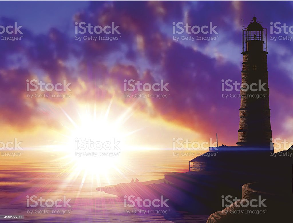 Marine landscape with a lighthouse vector art illustration