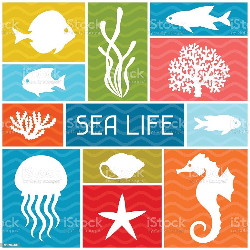 Marine life background design with sea animals. vector art illustration