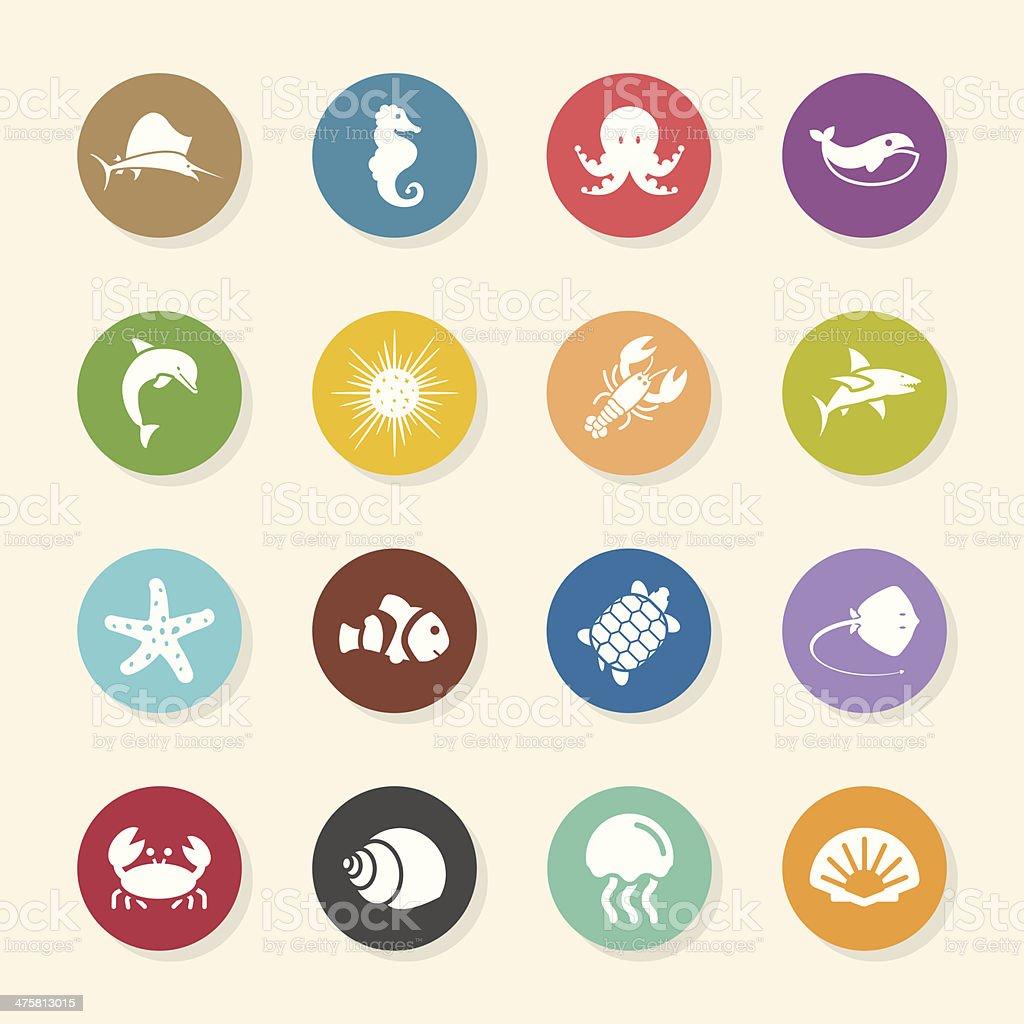 Marine Life Icons - Color Circle Series vector art illustration