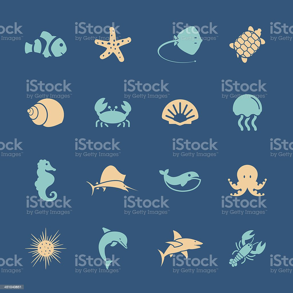 Marine Life Icons - Color Series | EPS10 vector art illustration