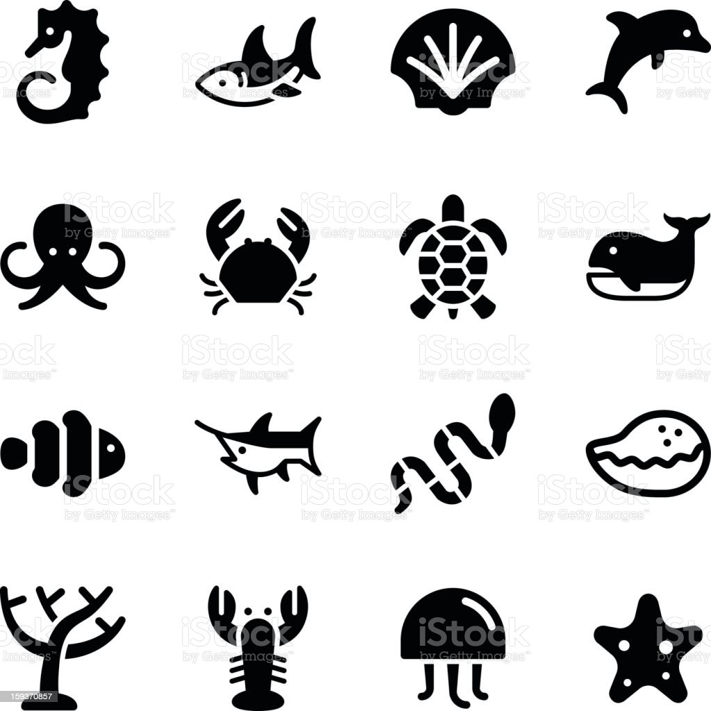 Marine Life Icons stock photo