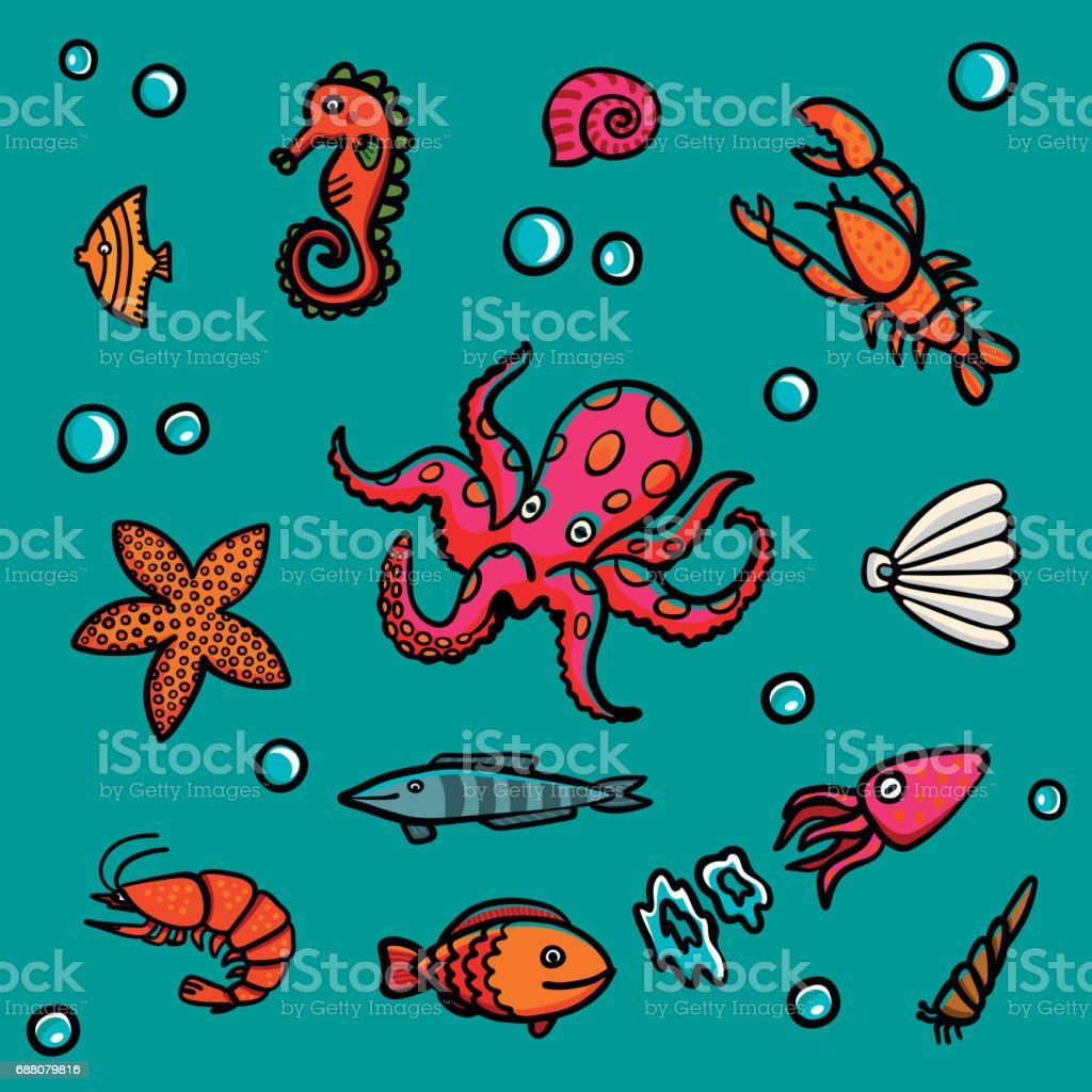 Marine life in cartoon style on a blue background. Lobster, shrimps, snails, sea cabbage etc vector art illustration