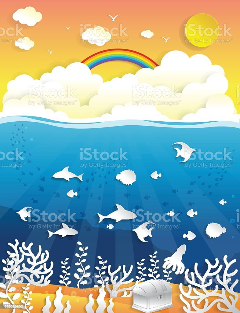 Marine Life Landscape - the ocean and animals underwater world,paper...