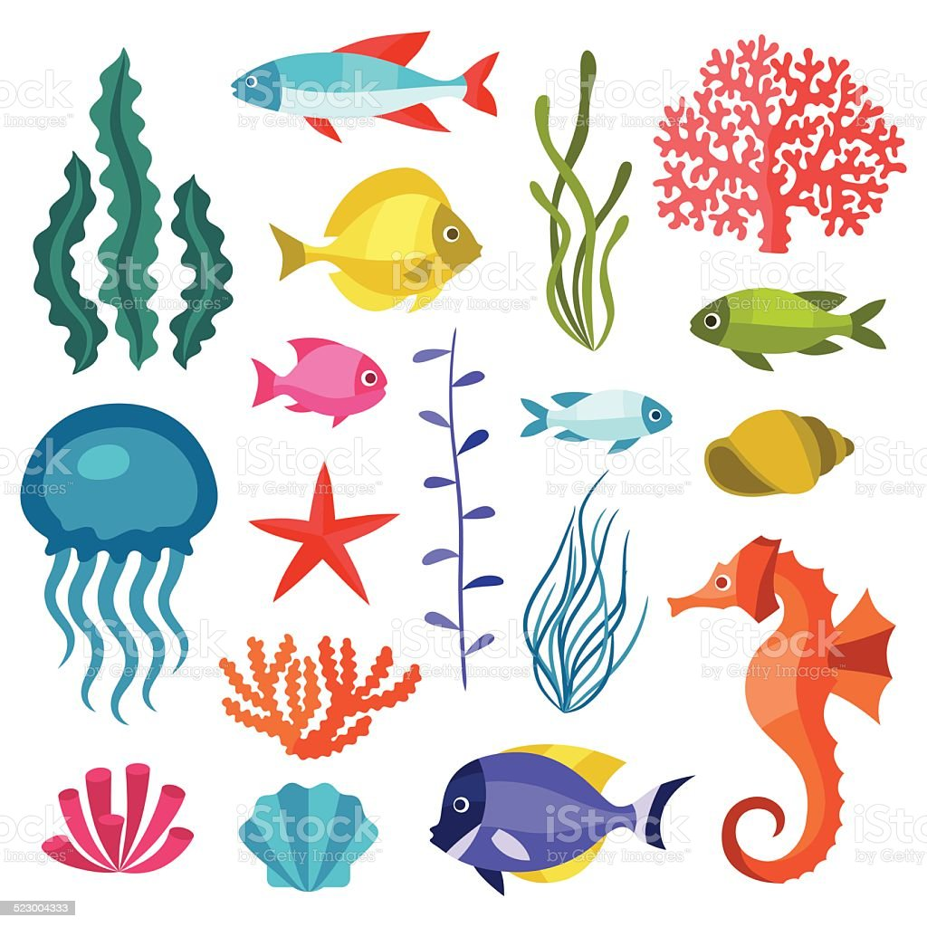 Marine life set of icons, objects and sea animals. vector art illustration
