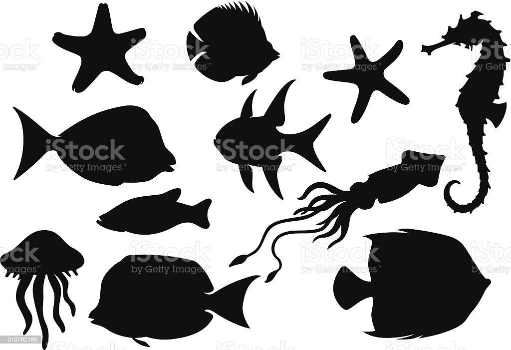 Marine Life Set vector art illustration