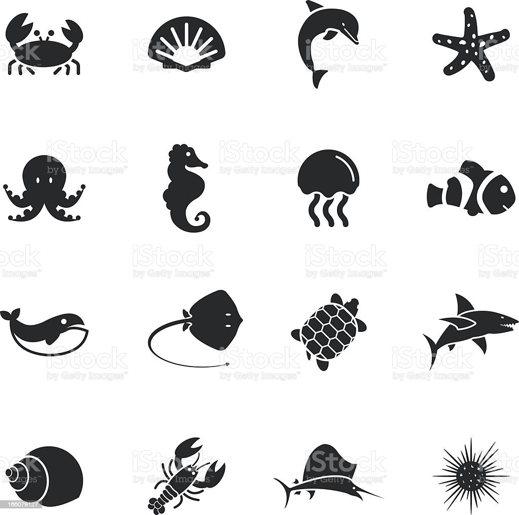 Marine Life Silhouette Icons vector art illustration