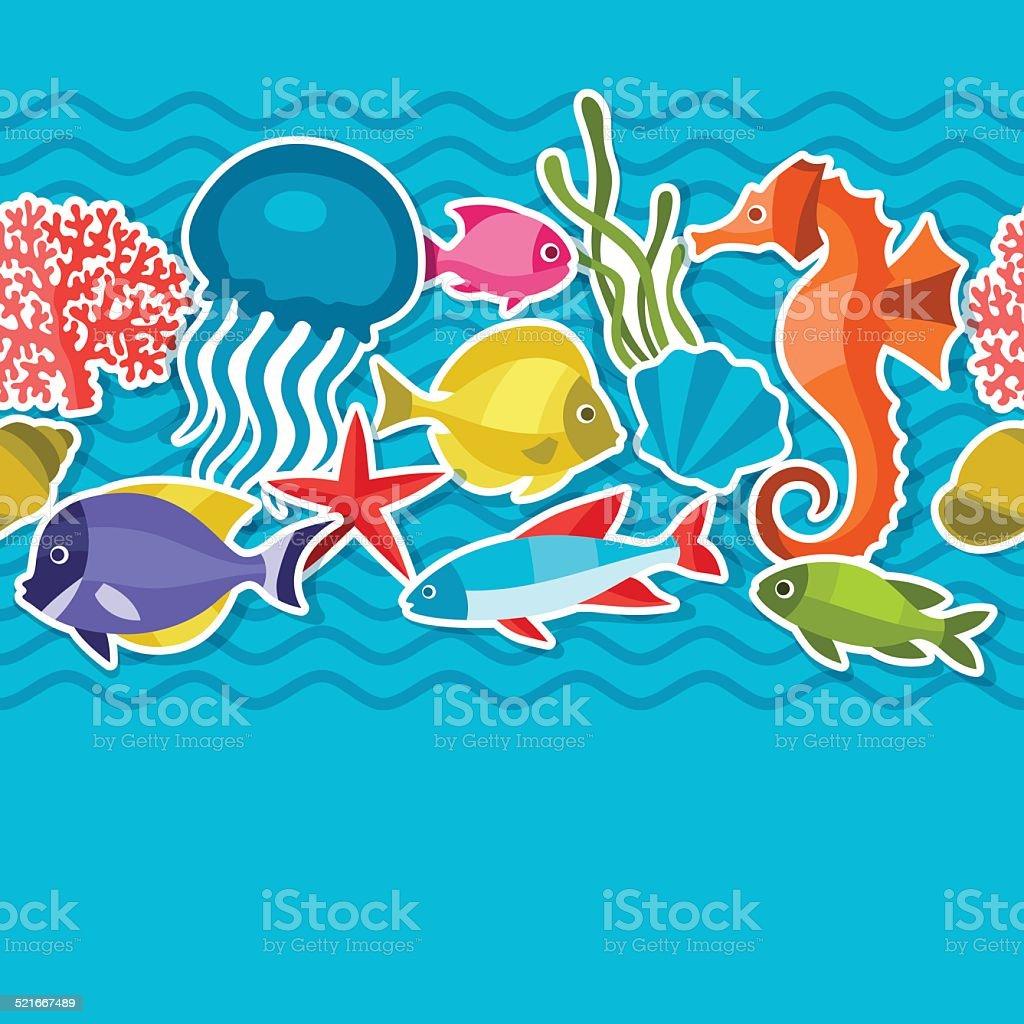 Marine life sticker seamless pattern with sea animals. vector art illustration