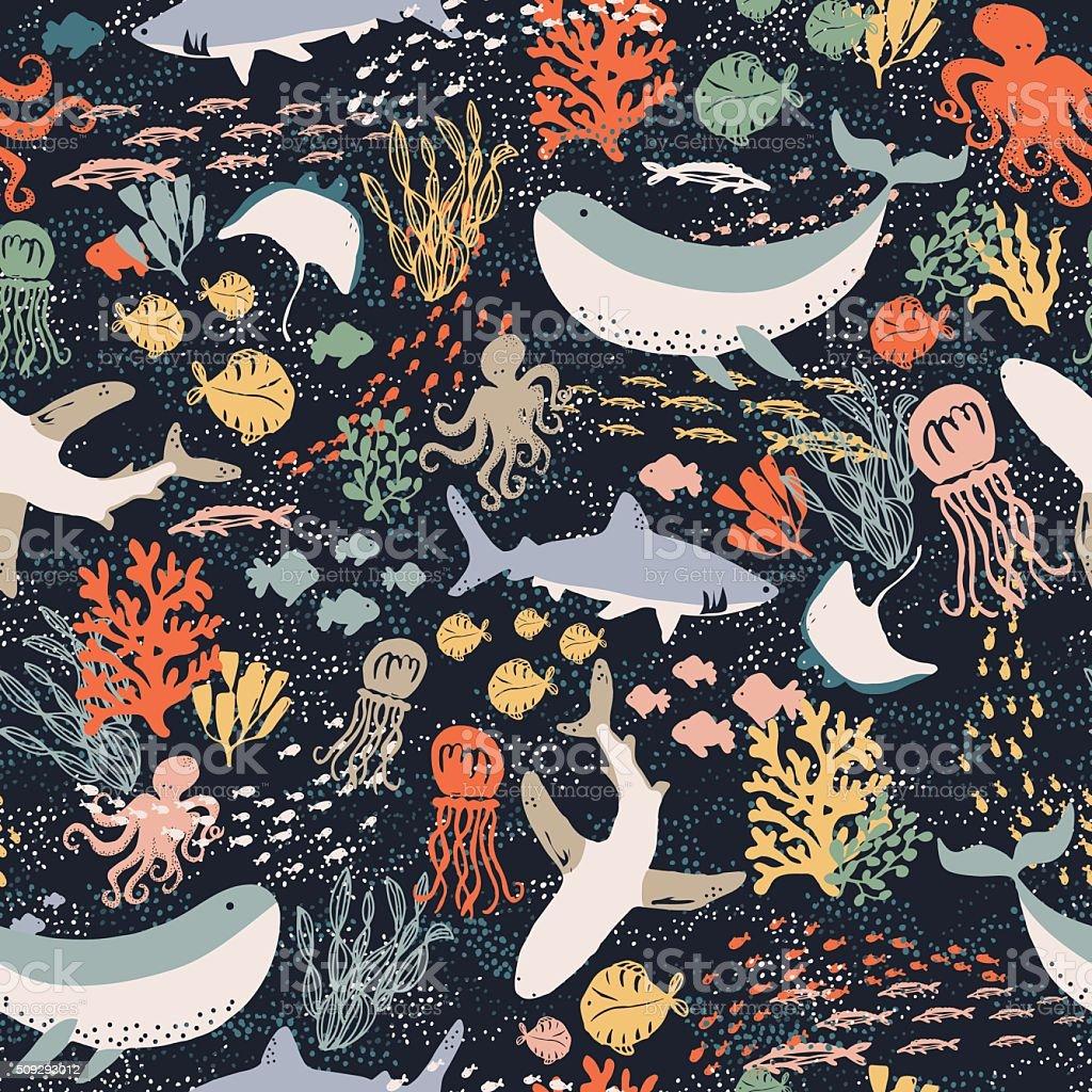 Marine Life vector art illustration
