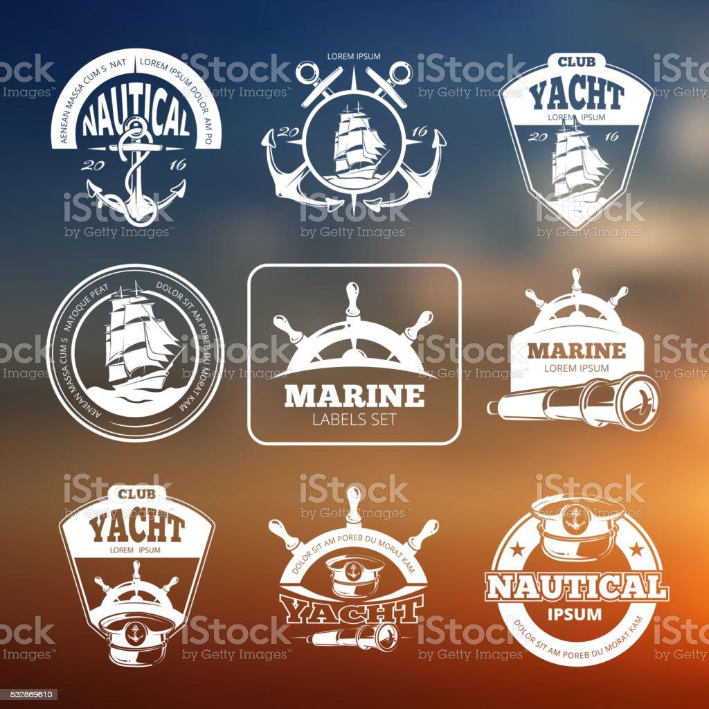Marine, nautical vector labels on blurred background vector art illustration