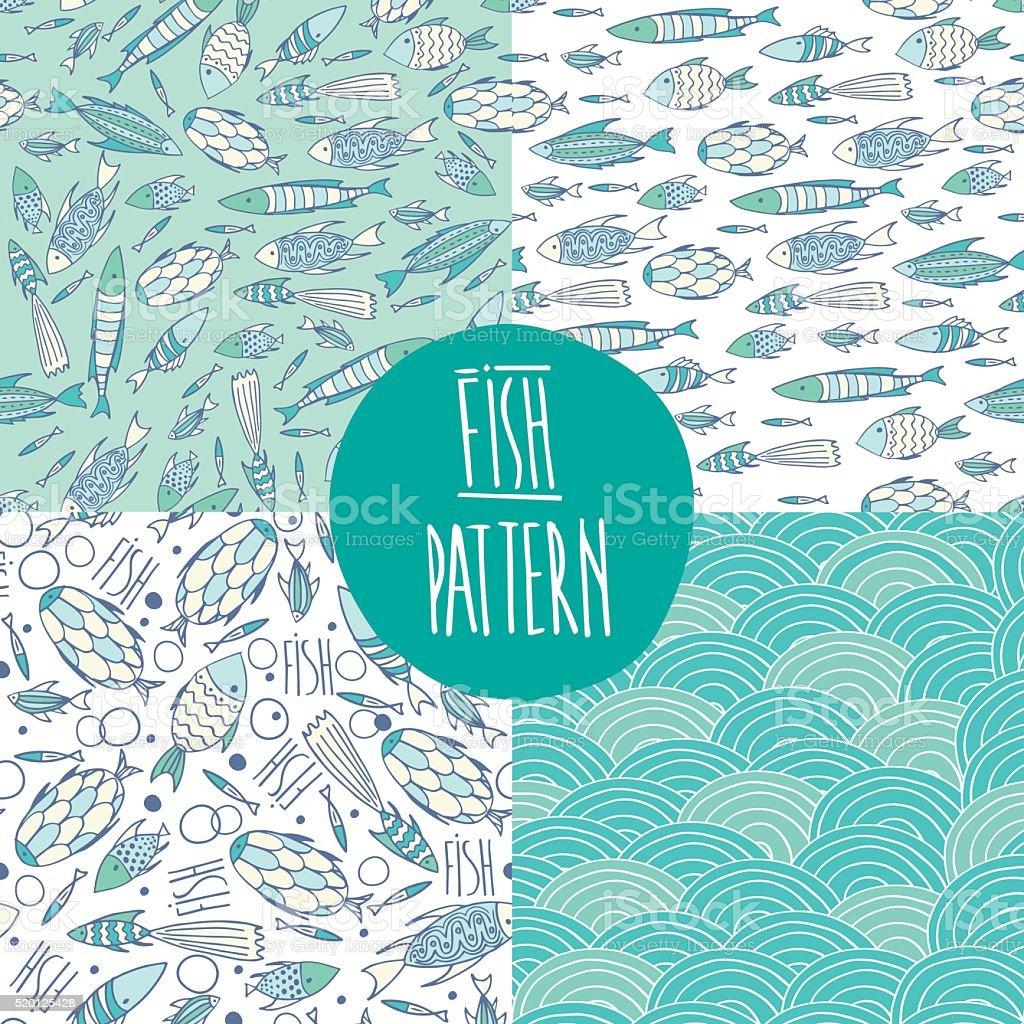 Marine pattern set vector art illustration