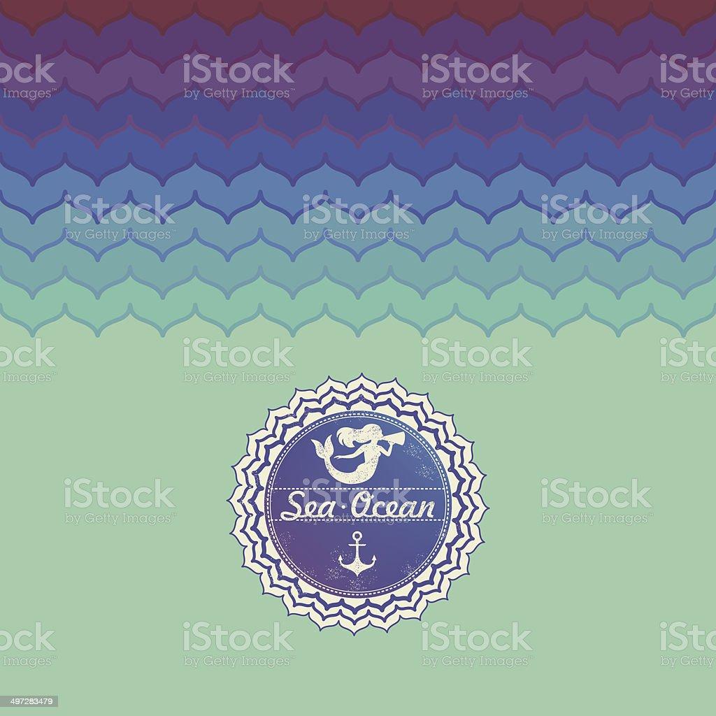 Marine patterns and marine emblem vector art illustration