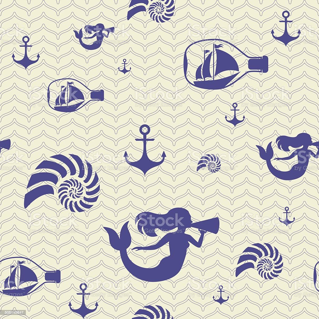 marine patterns. pattern with a mermaid, anchor, ship and shell vector art illustration