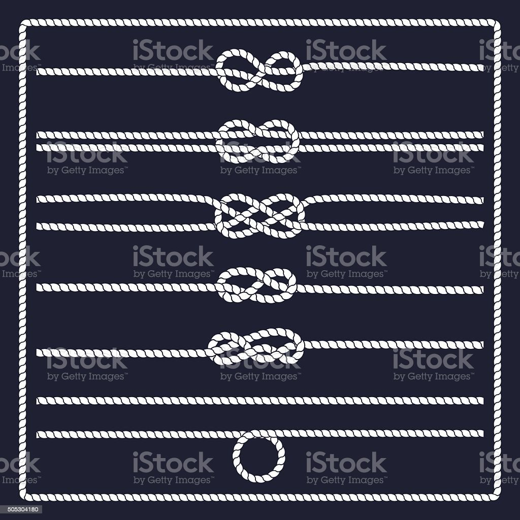 Marine rope knot vector art illustration