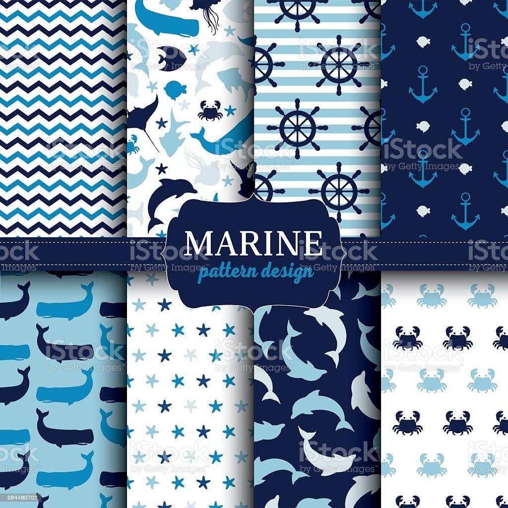 Marine seamless patterns set vector art illustration