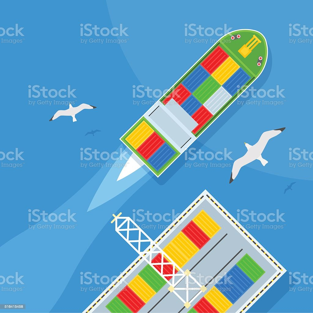 Marine Shipping. Cargo port, Seagulls flying, containers. vector art illustration