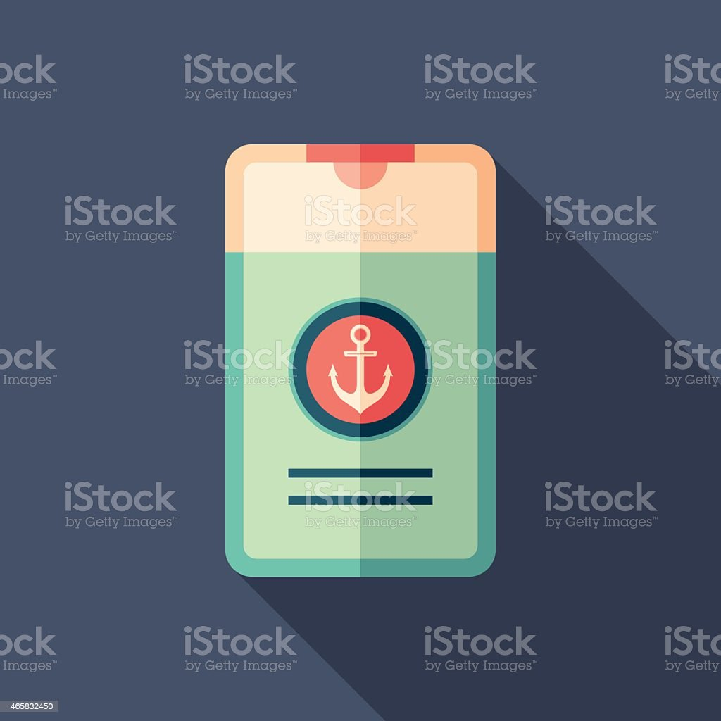 Marine shower gel flat square icon with long shadows. vector art illustration
