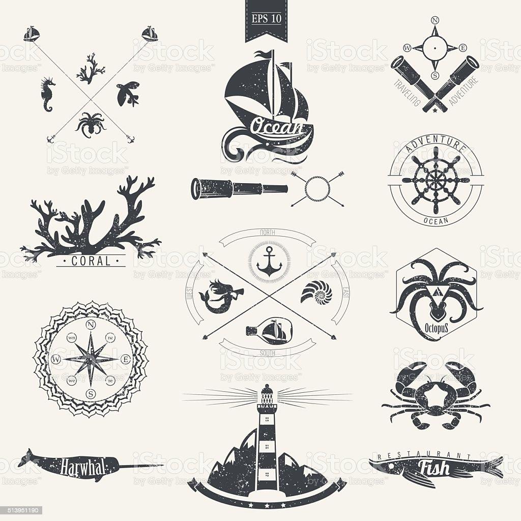 Marine style. Marine characters. vector art illustration