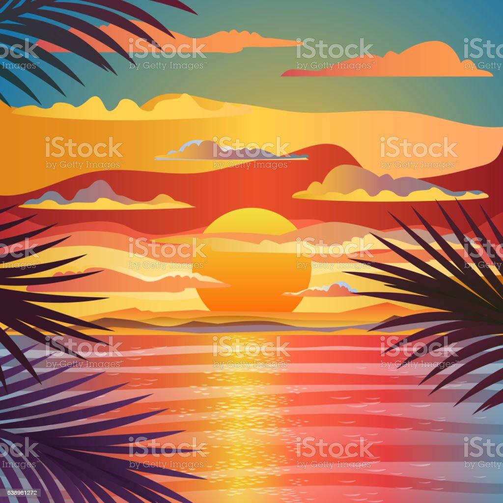 Marine sunset landscape. vector art illustration