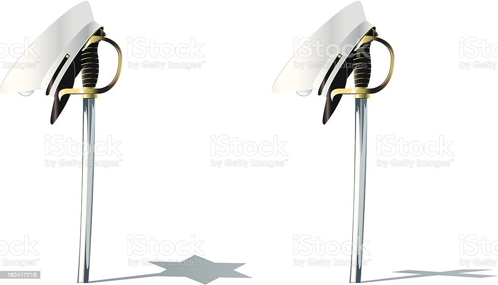 Marine Sword and Hat vector art illustration