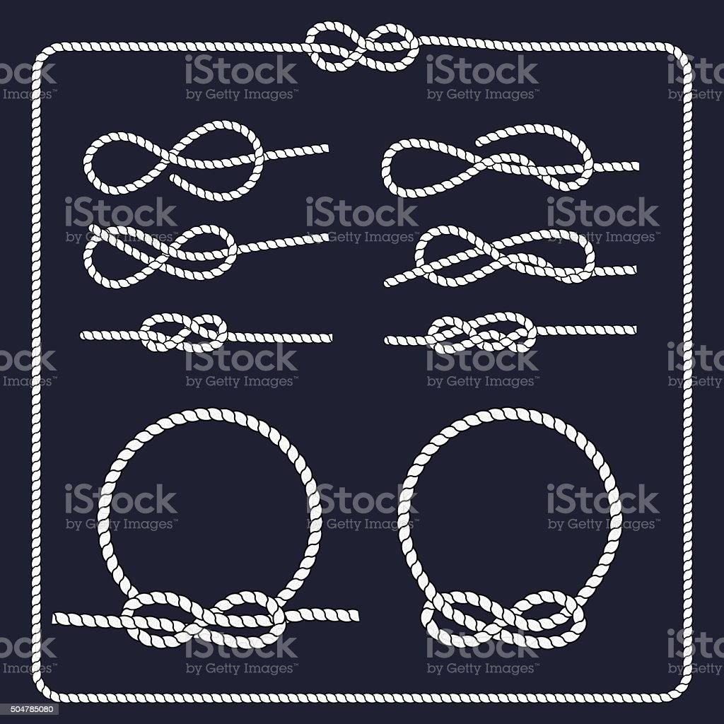 Marine symbol. Rope knots. vector art illustration