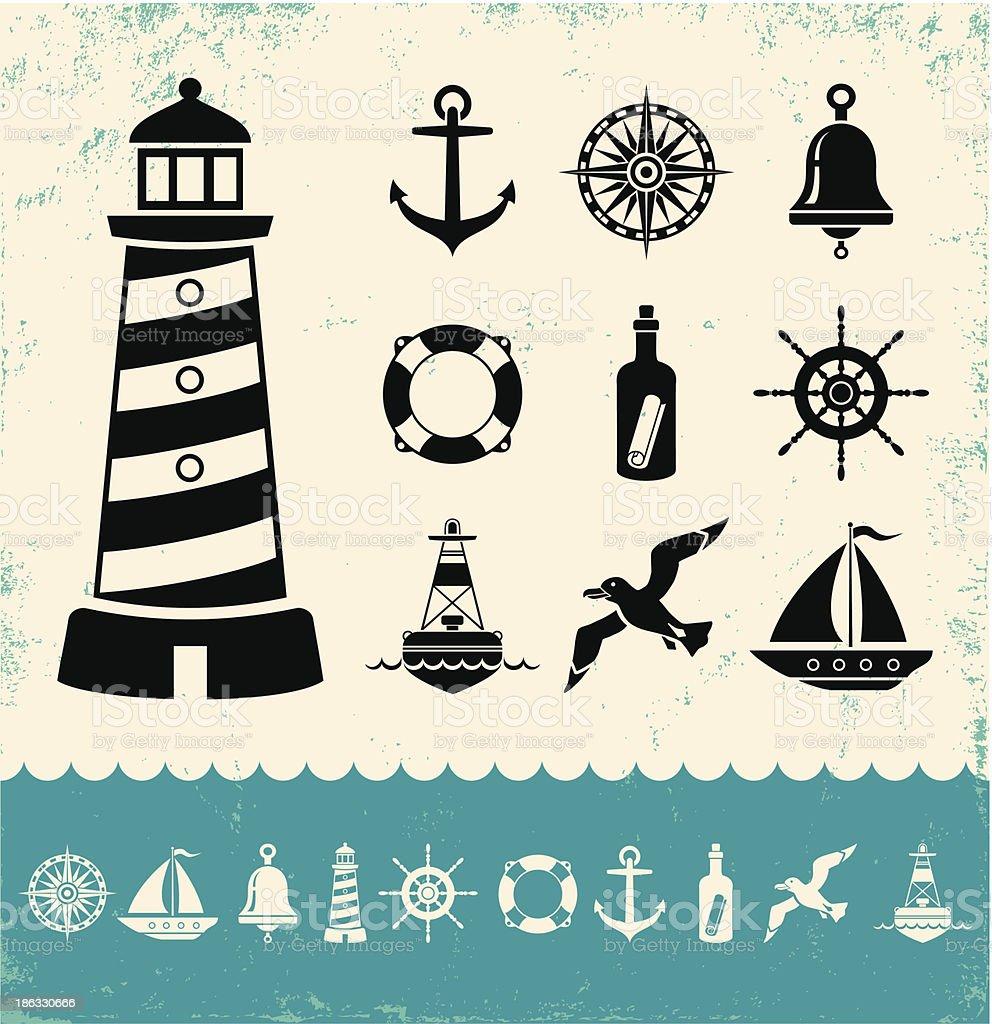Marine symbols vector art illustration