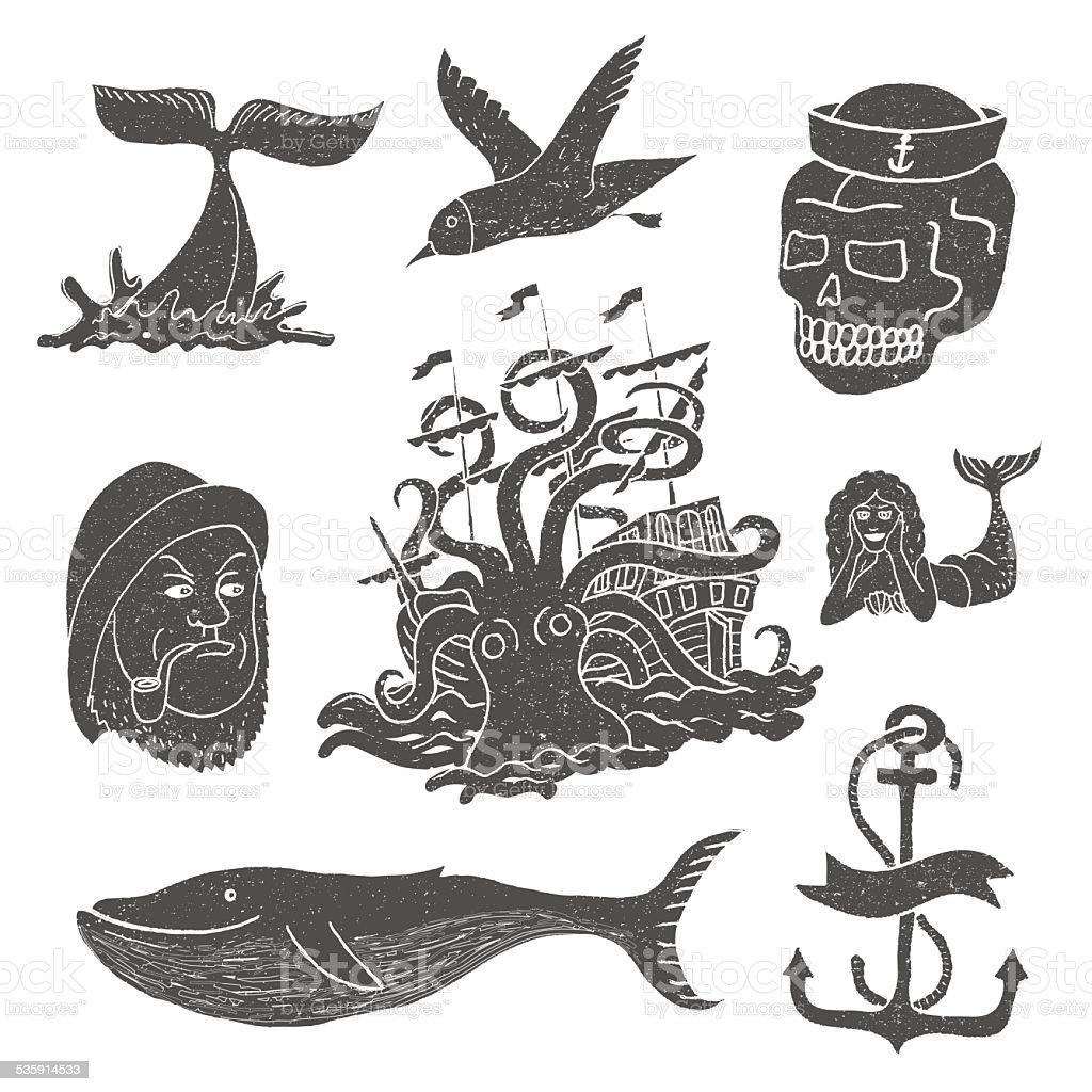 Marine themes & tattoo. Sailor. Ocean. Octopus. Whale. Skull. Anchor. vector art illustration
