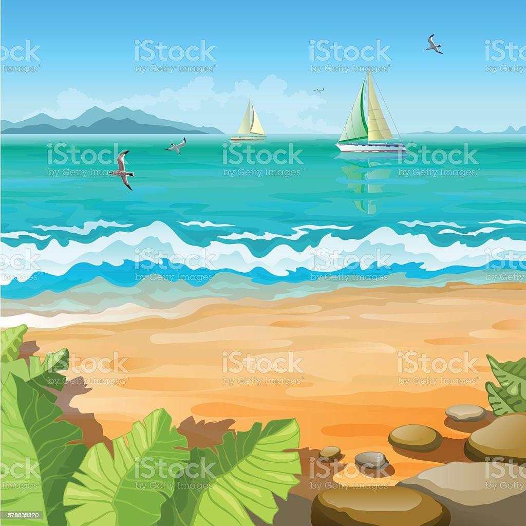 Marine tropical landscape vector art illustration