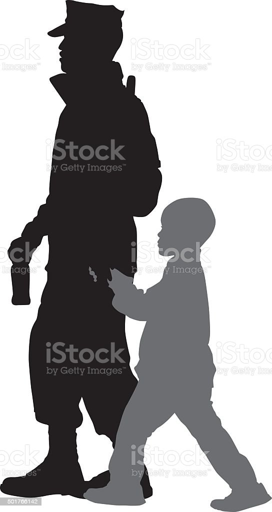 Marine Walking With Son vector art illustration