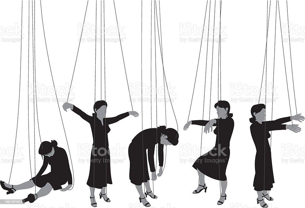 Marionette Woman vector art illustration