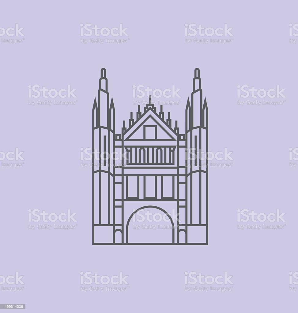 Marischal College colored line Illustration vector art illustration