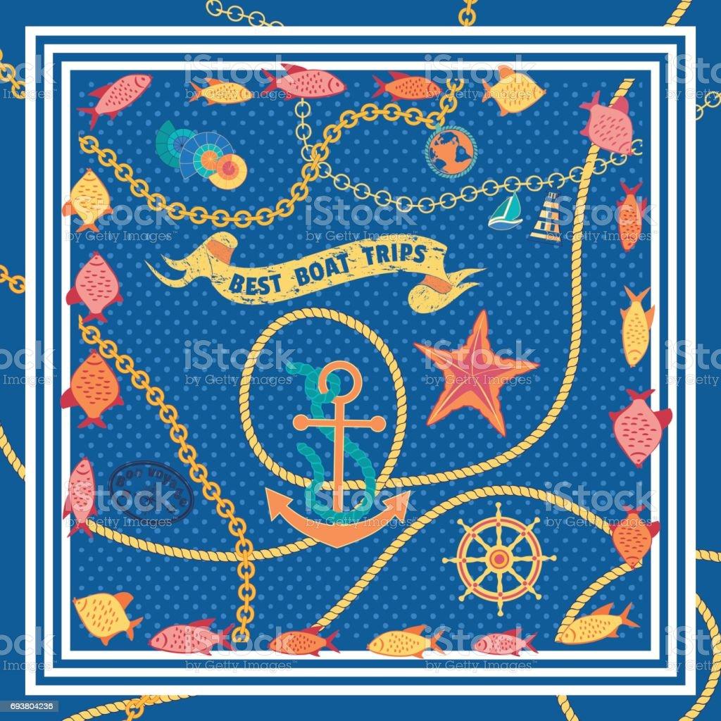 Maritime symbols pattern vector art illustration