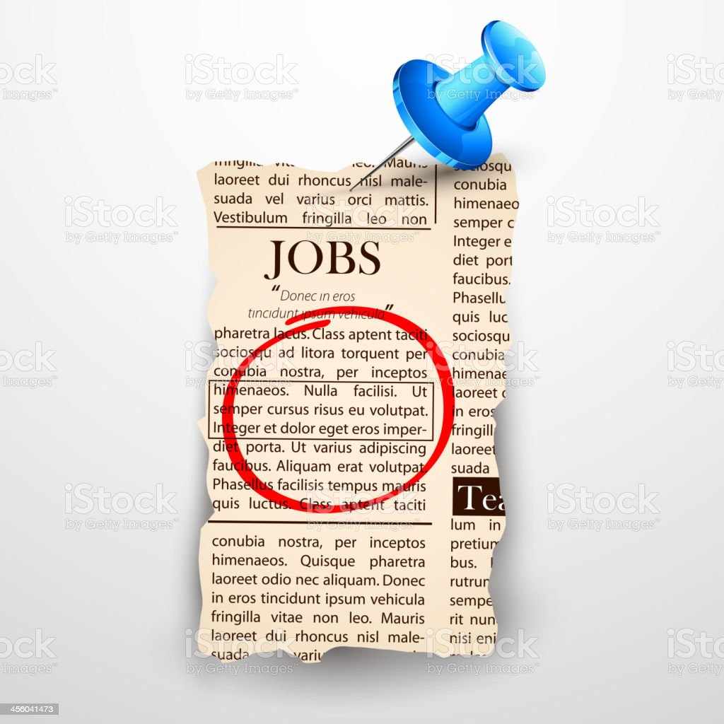 Marked job found on the newspaper vector art illustration
