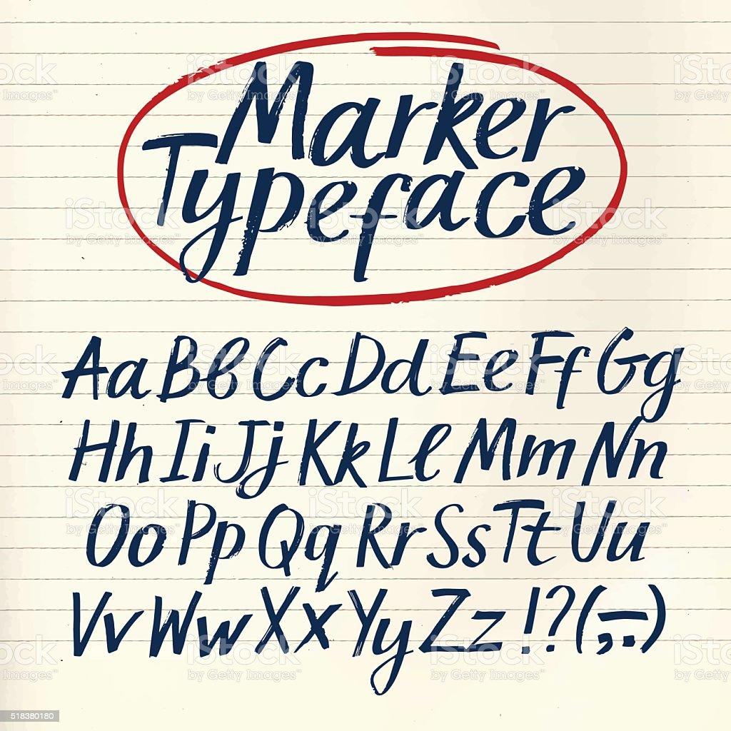 Marker hand drawn vector font vector art illustration