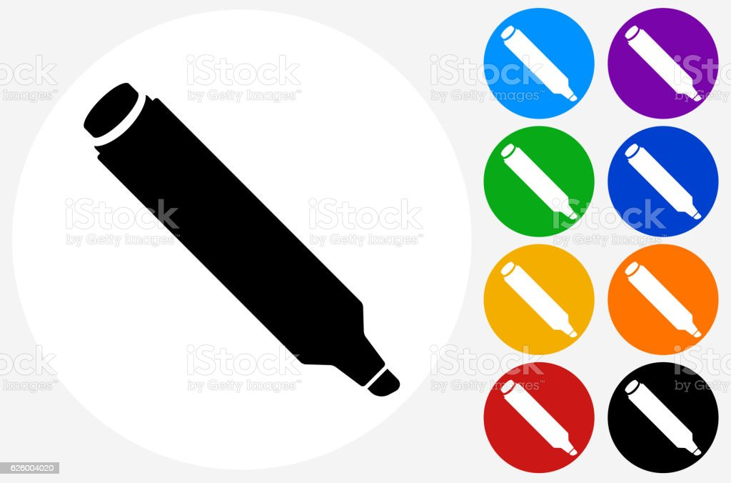 Marker Icon on Flat Color Circle Buttons vector art illustration