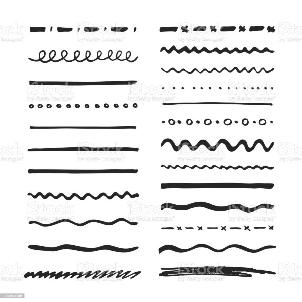 Marker strokes set vector art illustration