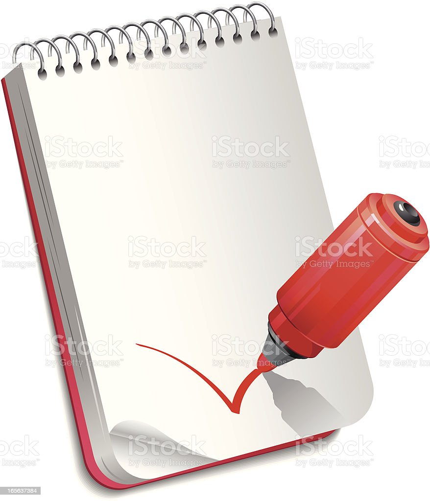 Marker with notebook royalty-free stock vector art