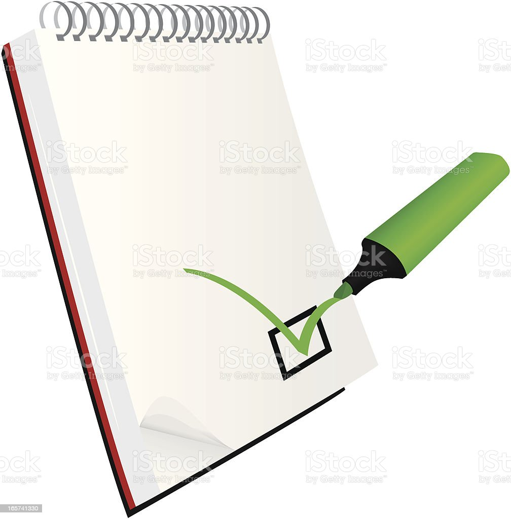 Marker with notebook vector art illustration