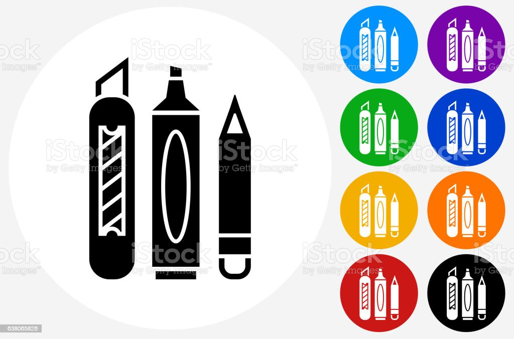 Markers and Box Cutter Icon on Flat Color Circle Buttons vector art illustration