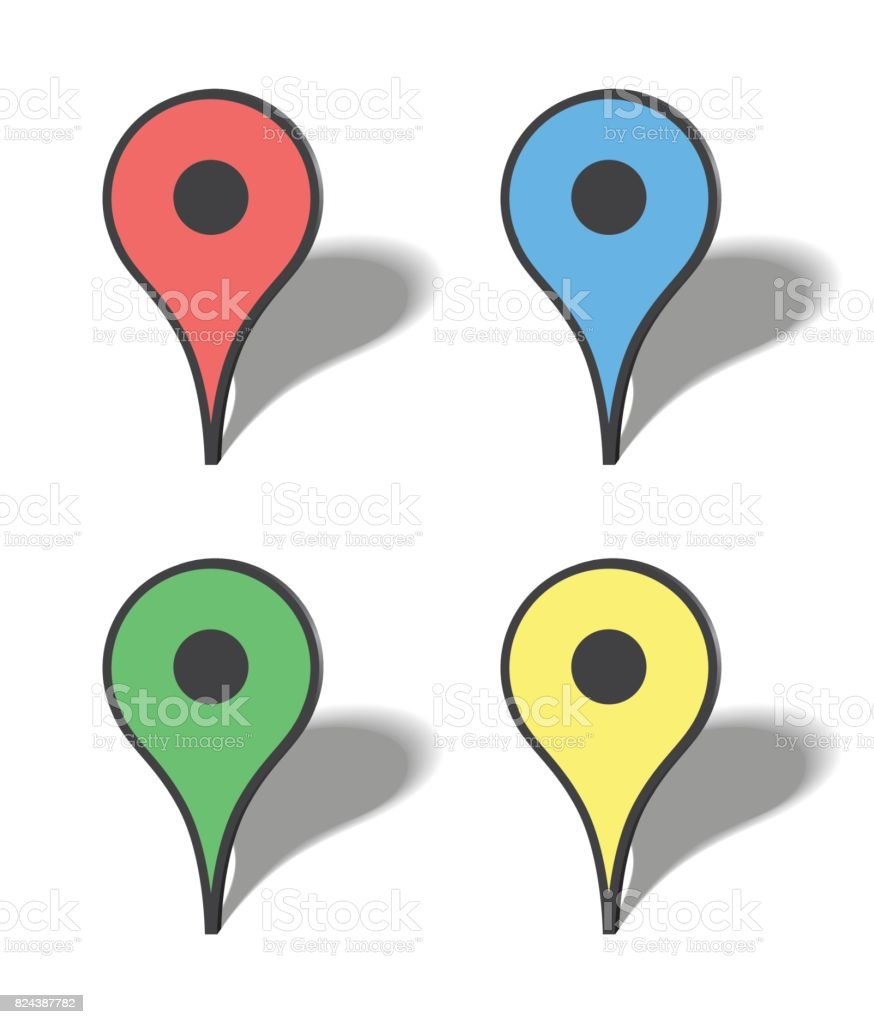 Markers map icons vector art illustration